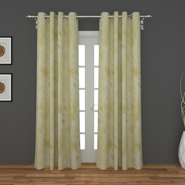 Silicy Printed Semi-Sheer Door Curtain-Set Of 2 Pcs.