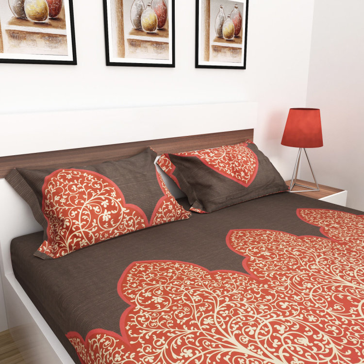 Emerald Printed Cotton Double Bedsheet-Set Of 3 Pcs.