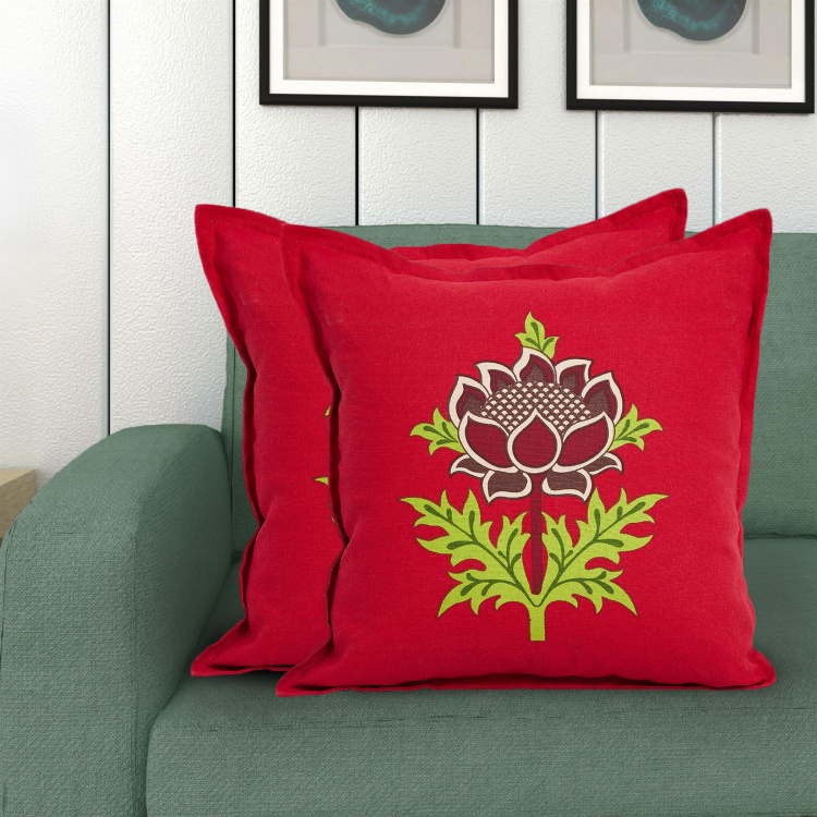 Saddle Printed Cotton Cushion Covers - Set of 2 - 40 x 40 cm