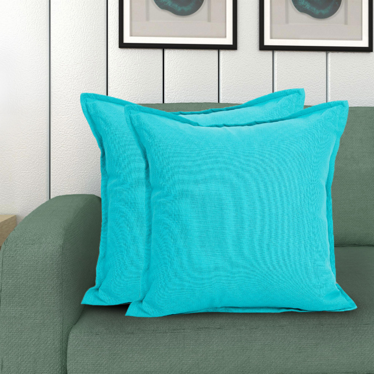 Saddle Solid Cotton Cushion Covers - Set of 2 - 40 x 40 cm
