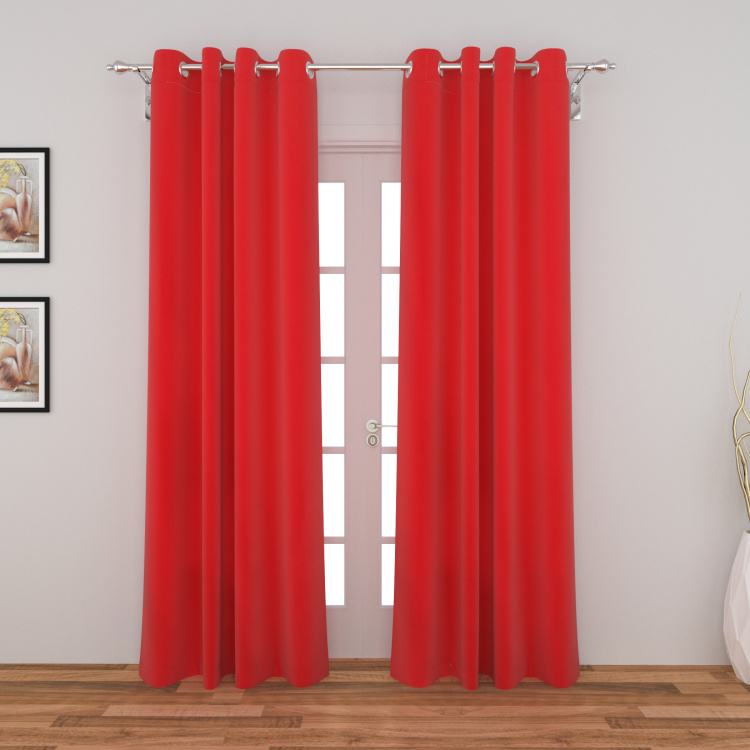 Saddle Solid Semi-Blackout Door Curtain-Set Of 2 Pcs.