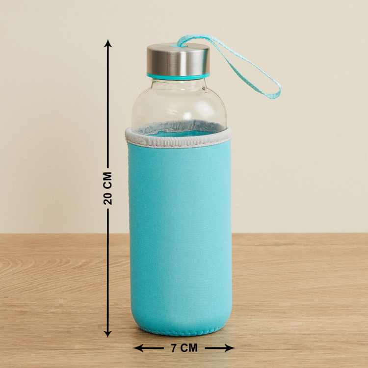 Favola-Cyprus Transparent Glass Water Bottle with Pouch - 400ml