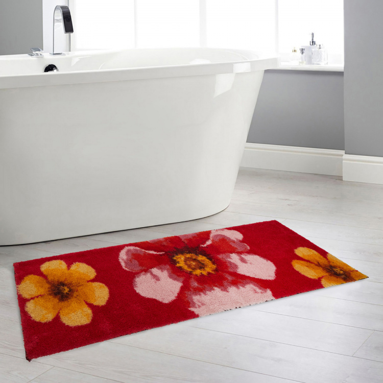 Hudson Floral Print Rectangular Anti-Slip Bath Runner - 49 x 150 cm
