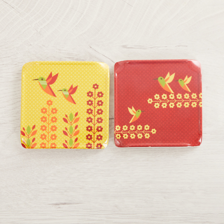 Raisa-Retro Printed Melamine Coasters-Set Of 6 Pcs.