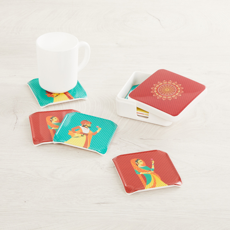 Raisa-Retro Printed Melamine Coasters with Holder - Set Of 6 Pcs.