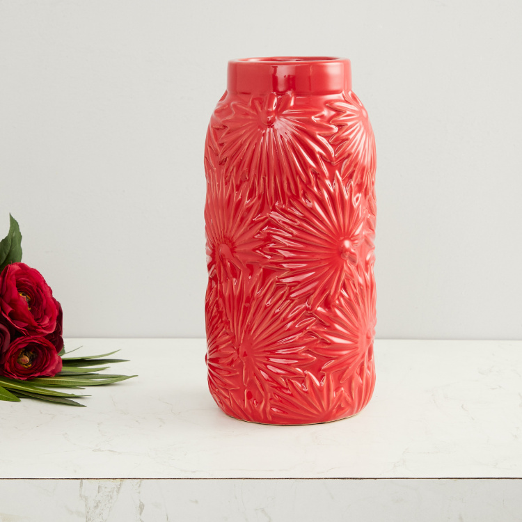 Splendid Leaf Embossed Textured Round Vase