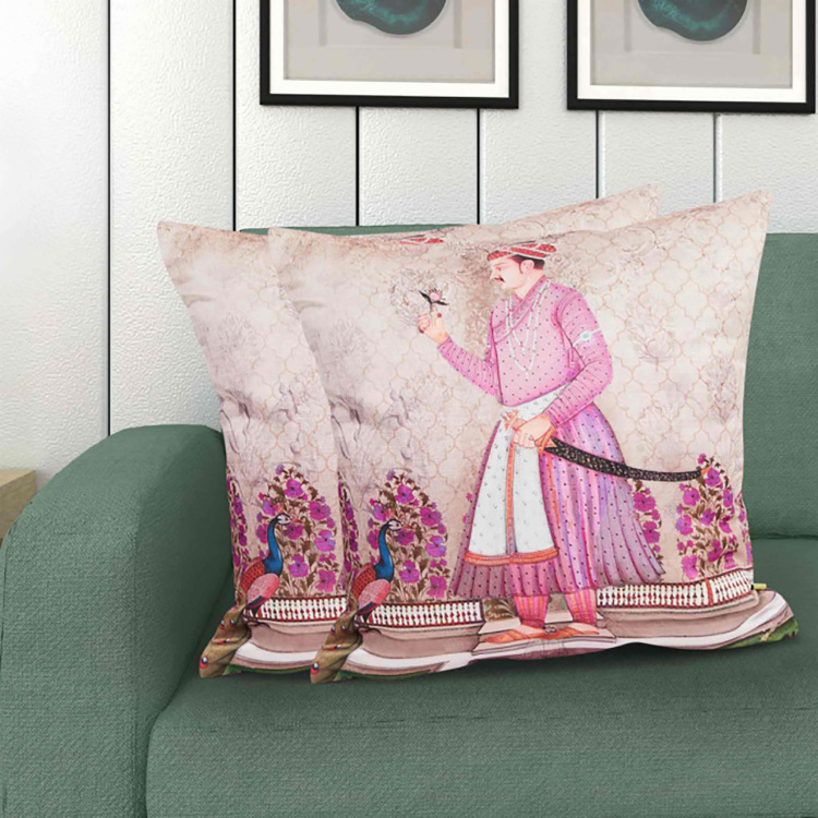 Aurora Printed Square Cushion Covers - Set of 2 Pcs - 40 x 40 cm