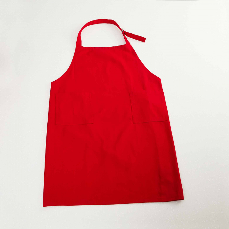 Kale Saddle Solid Cotton Kitchen Apron with Patch Pockets