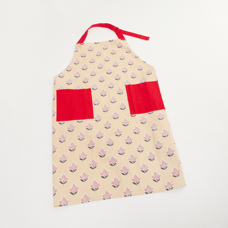 Kale Saddle Floral Print Kitchen Apron with Patch Pockets