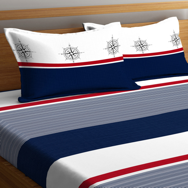 PORTICO Liva - Stripe Printed Cotton 3-Piece King-Size Bedding Set - 229 x 274 cm