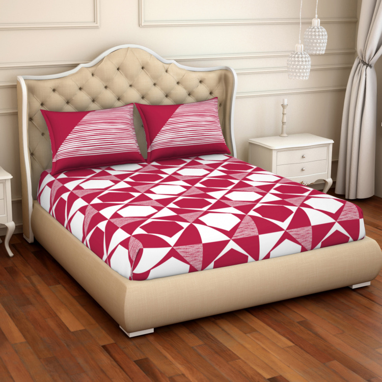 SPACES Atrium Geometric Print 3-Piece Double Bedsheet Set - 224 x 274 cm