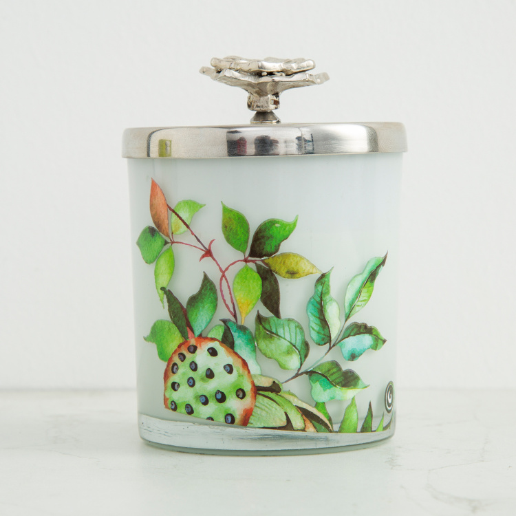 Redolance Blissful Blossom Floral Print Jar Candle with Lotus Accent