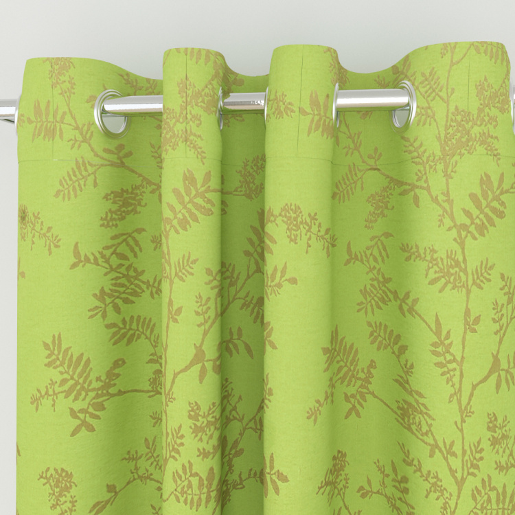 Seirra Fancy Floral Semi-Blackout Door Curtain-Set Of 2 Pcs.- 225X135 cms