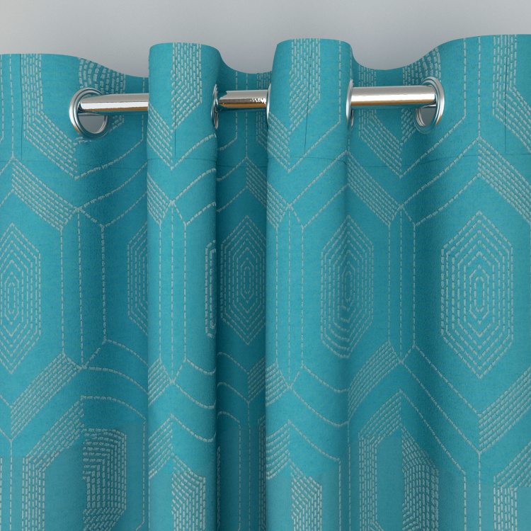 Seirra Fancy Set of 2 Jacquard Patterned Window Curtains - 110 X 160 cm