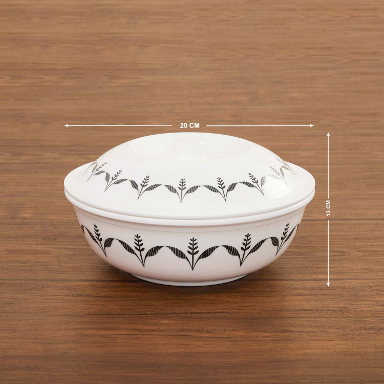 Silvano-Nordic Floral Print Serving Bowl with Lid
