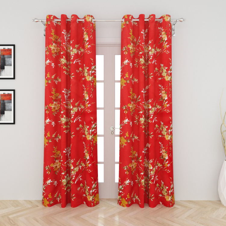 Harold Printed Semi-Blackout Door Curtain - Set Of 2 - 225x110 cms.
