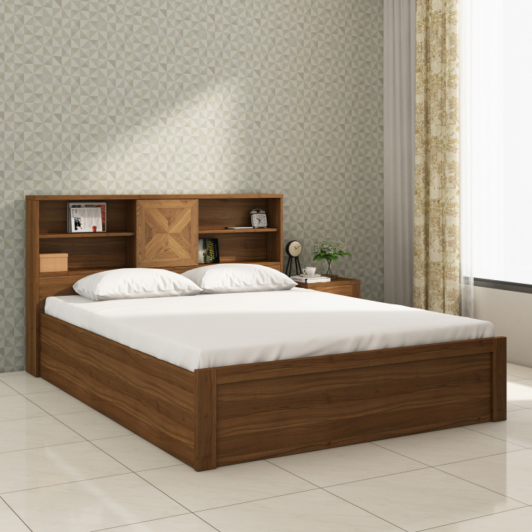 Helios Oyster Queen-Size Bed with Box Storage - 150 x 195 cm