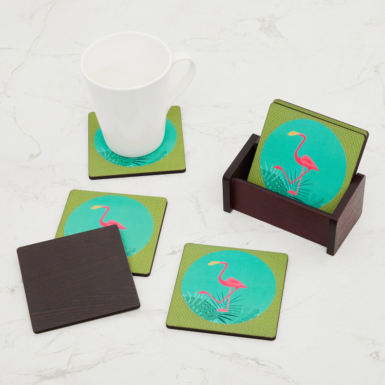 Raisa-Retro Printed Coasters with Holder - Set of 6