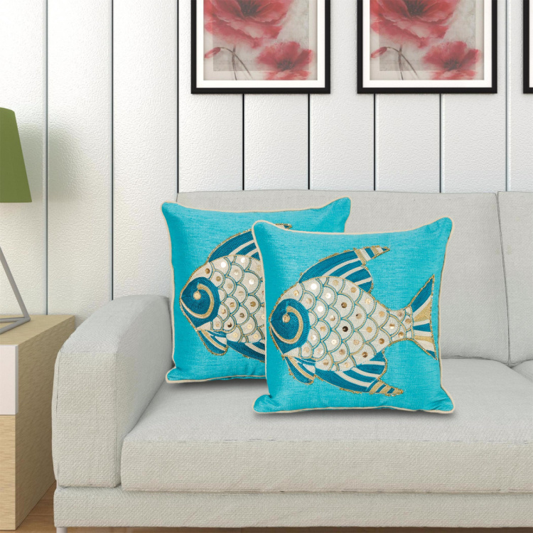 Celebration Embroidered Cushion Covers - Set of 2 - 30 x 30 cm