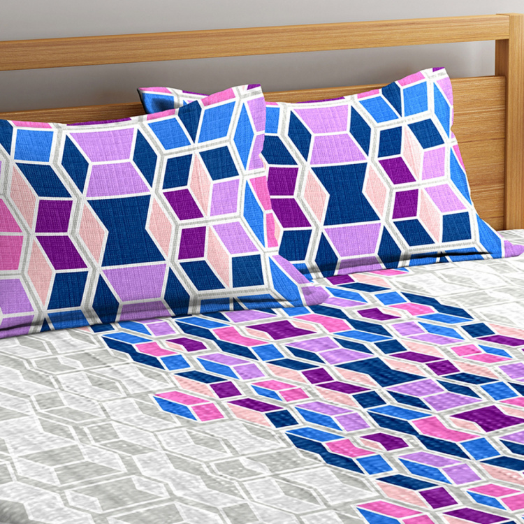 PORTICO Vienna Printed Cotton Double Bedsheet- Set Of 3 Pcs.