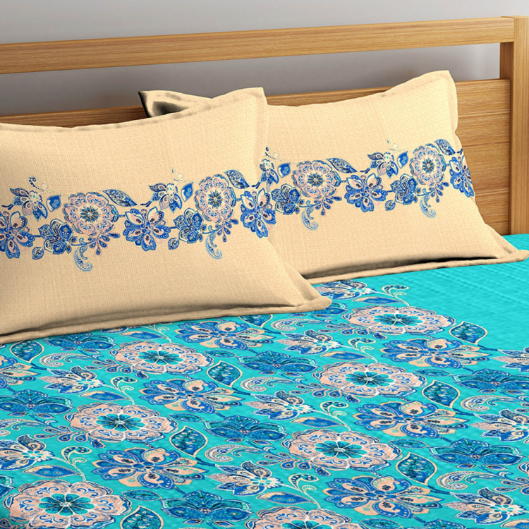 PORTICO Vienna Printed Double Bedsheet with Pillow Covers - Set of 3 Pcs.