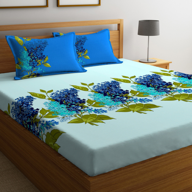 PORTICO Lavender Printed Double Bedsheet with Pillow Covers - Set of 3 Pcs.