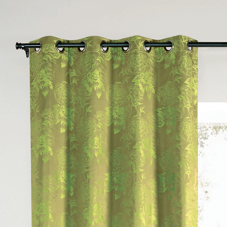 DECO WINDOW Floral Print Blackout Door Curtain Pair - 132 x 228 cm