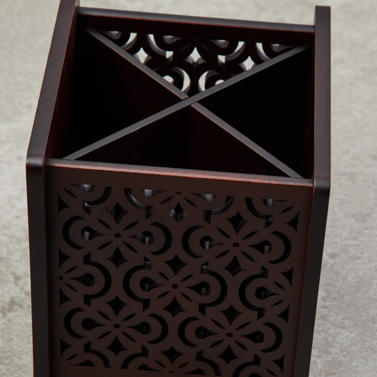 Moksha Laser-Cut Wooden Cutlery Holder