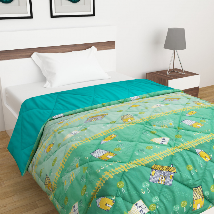 City Goes Wild Printed Cotton Quilted Comforter - 135 x 200 cm