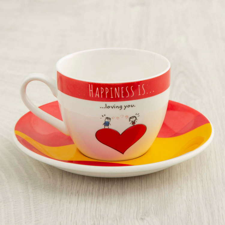 Happiness Printed Cup & Saucer - Set of 8 - 210 ml