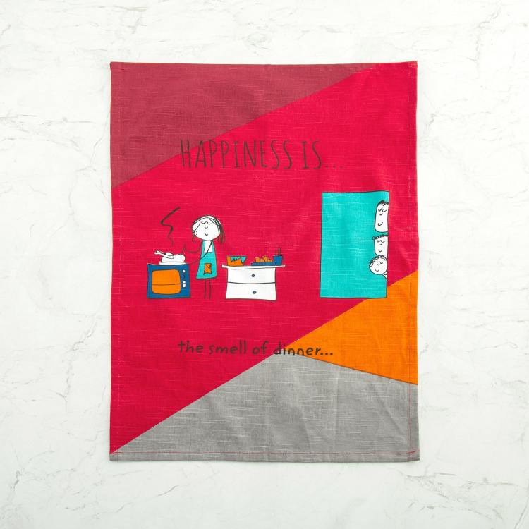 Happiness Printed Kitchen Towels - Set of 2