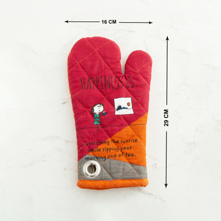Happiness Printed Quilted Gloves - Set of 2