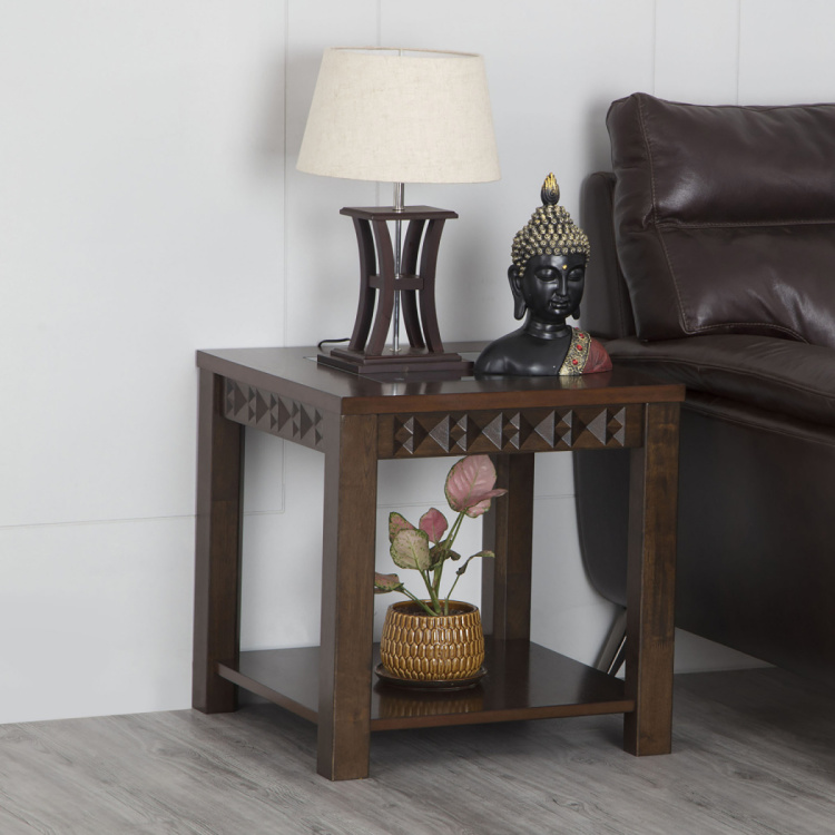 Rio End Table with Tempered Glass