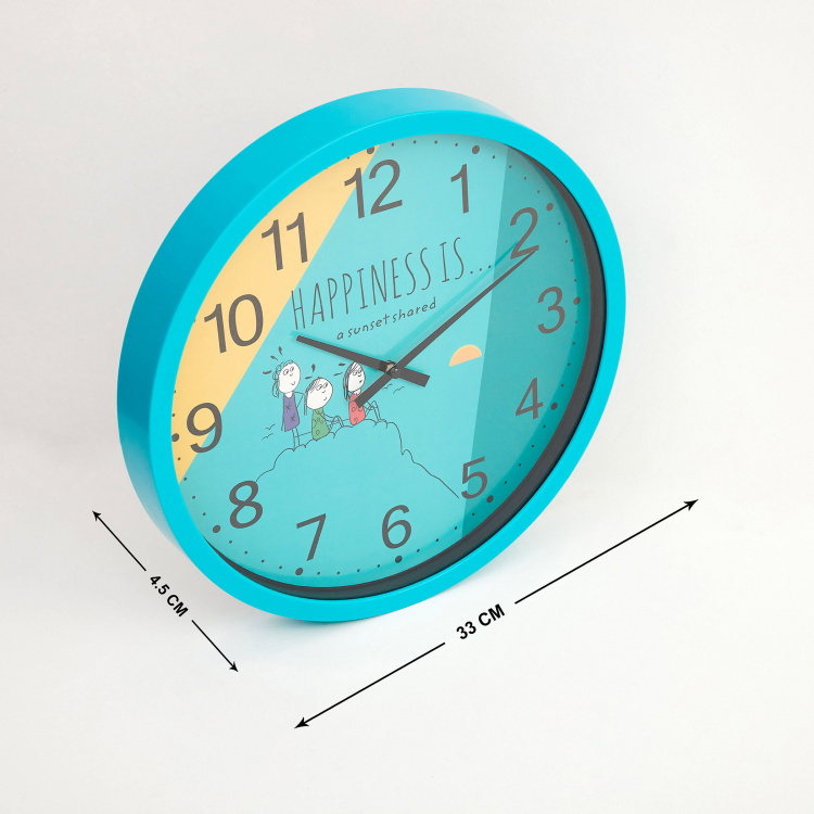 Happiness Shared Sunset Print Wall Clock