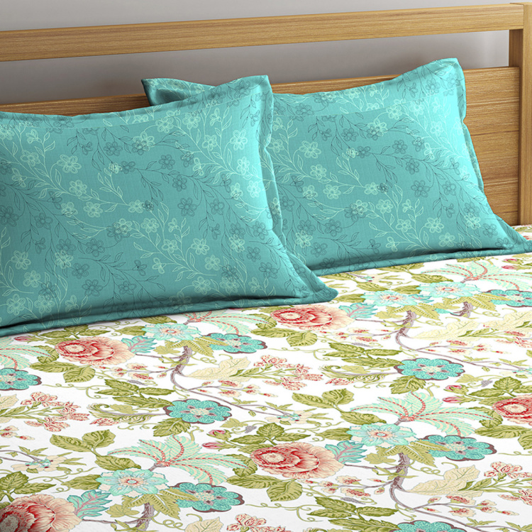 PORTICO Mirage Printed Cotton Double Bedsheet- Set Of 6 Pcs.