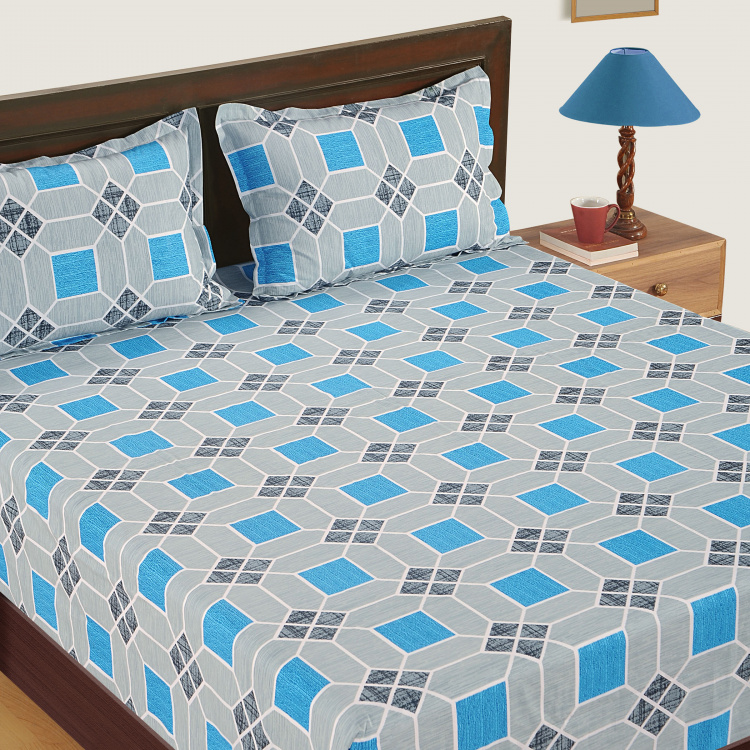 SWAYAM Geometric Cotton Double Bedsheet-Set Of 3 Pcs.