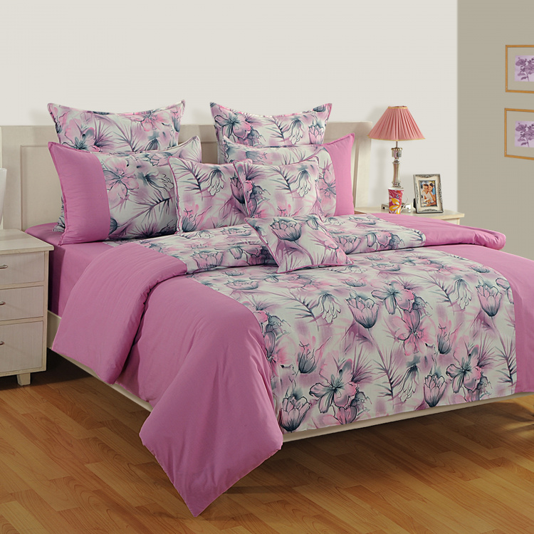 SWAYAM Floral Print Cotton Double Bedsheet-Set Of 3 Pcs.