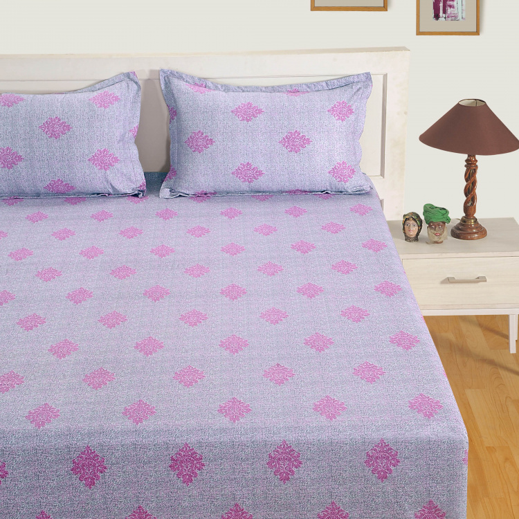 SWAYAM Printed Cotton Double Bedsheet-Set Of 3 Pcs.