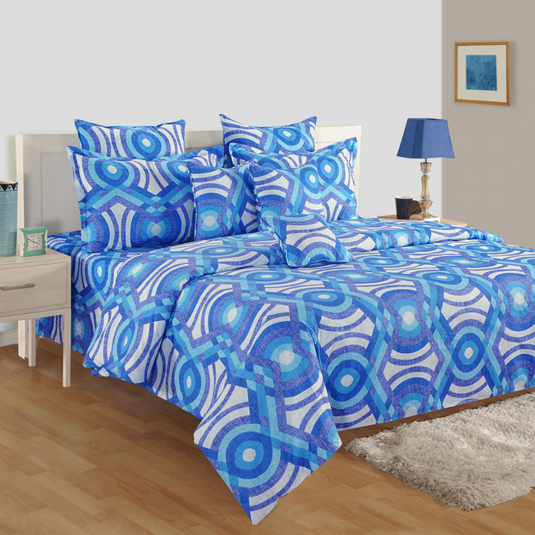 SWAYAM Abstract Cotton Double Bedsheet-Set Of 3 Pcs.