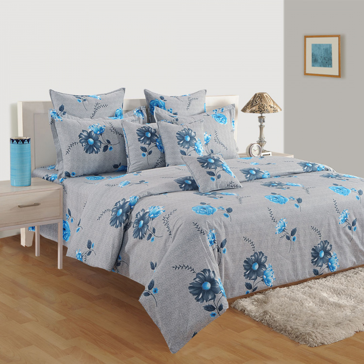 SWAYAM Floral Cotton Single Bedsheet-Set Of 2 Pcs.