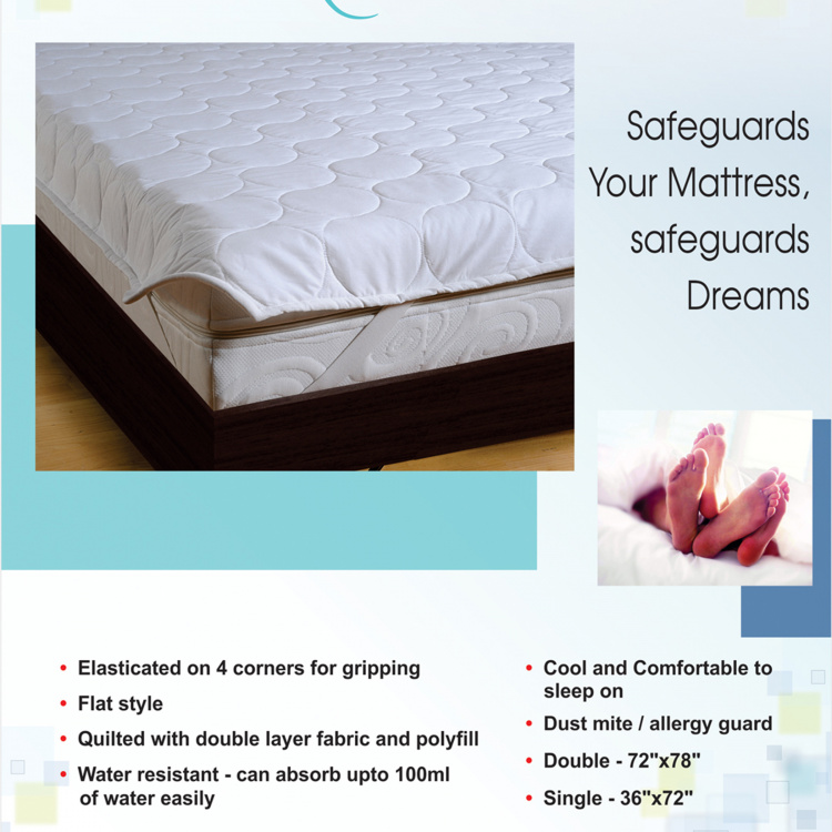 SWAYAM Textured Cotton Single Bed Mattress Protector - 91 x 198 cm