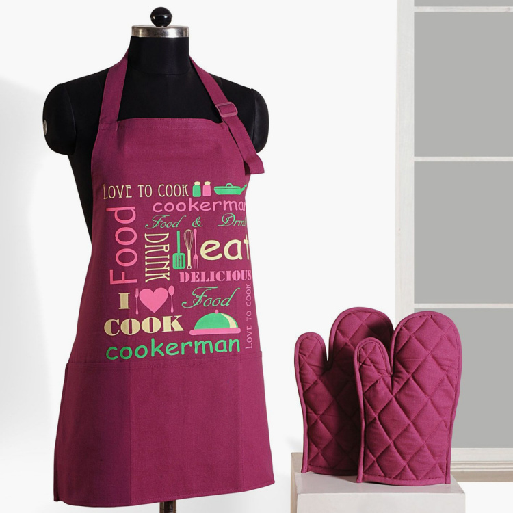 SWAYAM Printed Apron & Oven Gloves - Set of 3