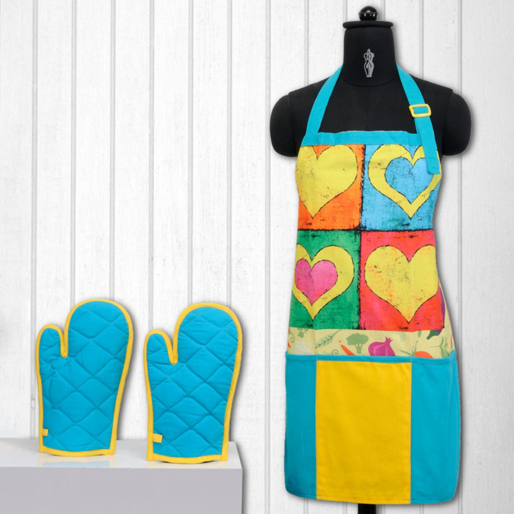SWAYAM Printed Kitchen Apron & Oven Gloves - Set of 3