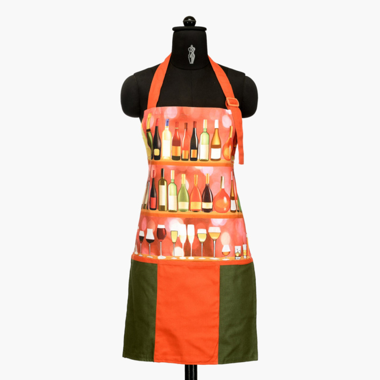 SWAYAM Graphic Print Kitchen Apron & Oven Gloves - Set of 3