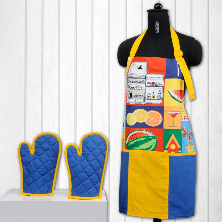 SWAYAM Kitchen Apron & Oven Gloves - Set of 3