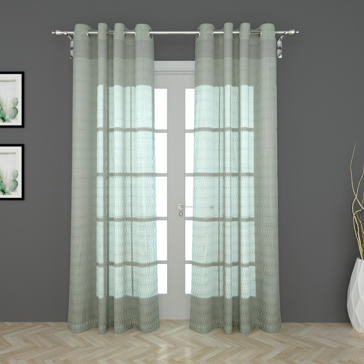 Designer Homes Printed Sheer Door Curtain Pair - 135 x 225 cm