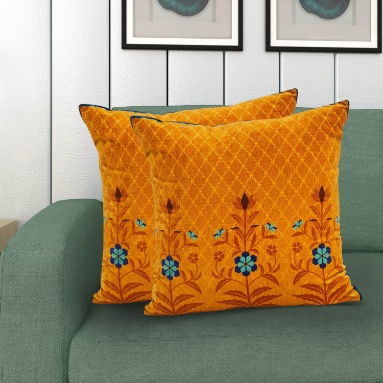Designer Homes Floral Print Cushion Covers - Set of 2 - 40 x 40 cm