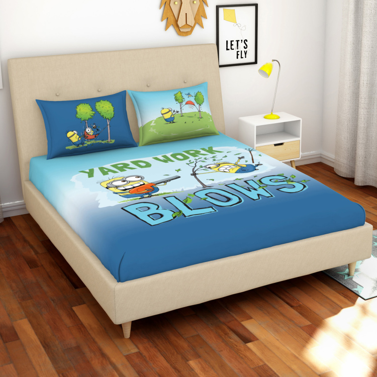 SPACES Minions 3-Piece Digital Print Double Bedsheet Set - 228 x 274 cm