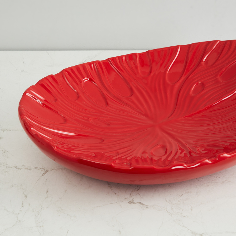 Splendid Leaf Embossed Decorative Platter