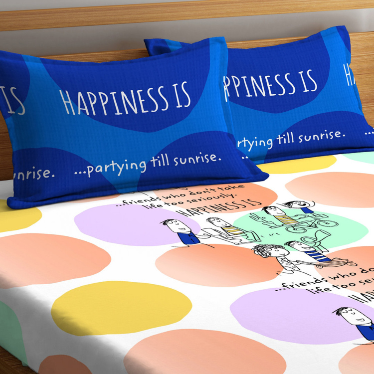 PORTICO NEW YORK Happiness Printed 3-Piece Bedsheet Set - 224 x 254 cm